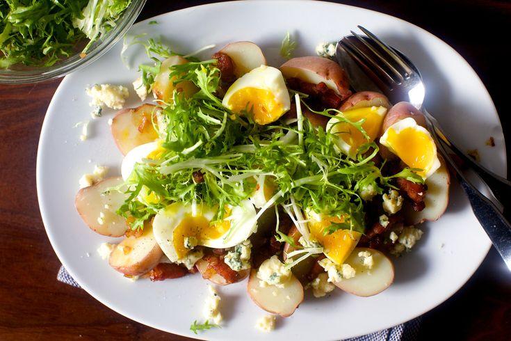 Potatoes with soft eggs and bacon vinaigrette