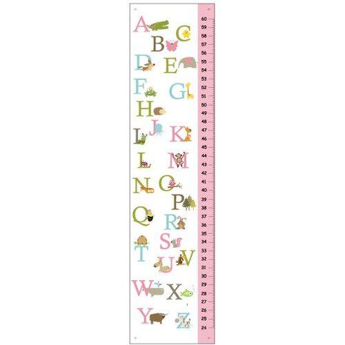 Alligator to Zebra-Alphabet Girl Height Chart - Pink