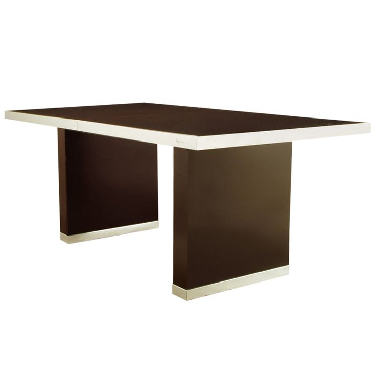 1stdibs | Pierre Cardin Chrome & Dark Chocolate Brown Dining Table