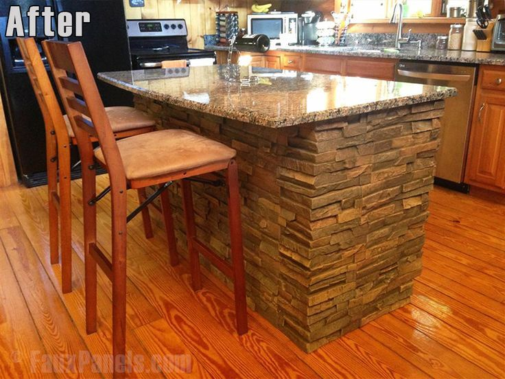 Faux stone panels are the perfect covering for a log cabin's kitchen island.