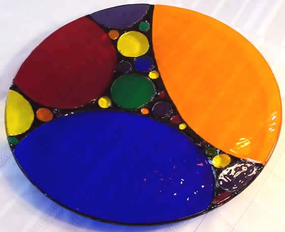 Marlow Glass Arts :: Platters :: Rainbow Bubbles