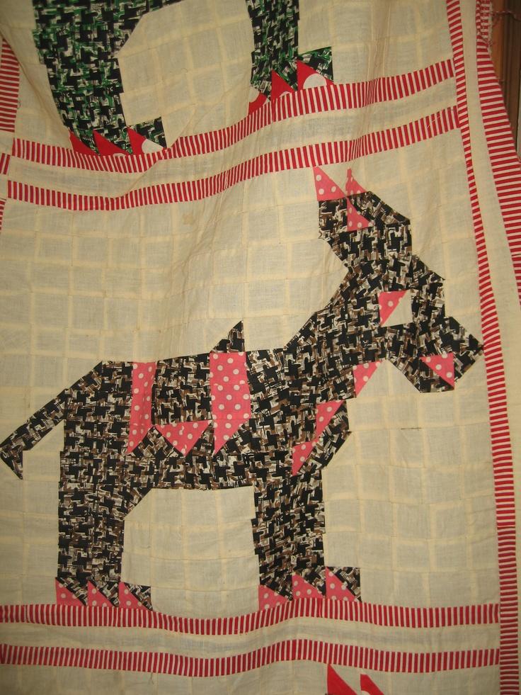 Vintage Donkey Quilt Top Detail Design Vintage Quilts