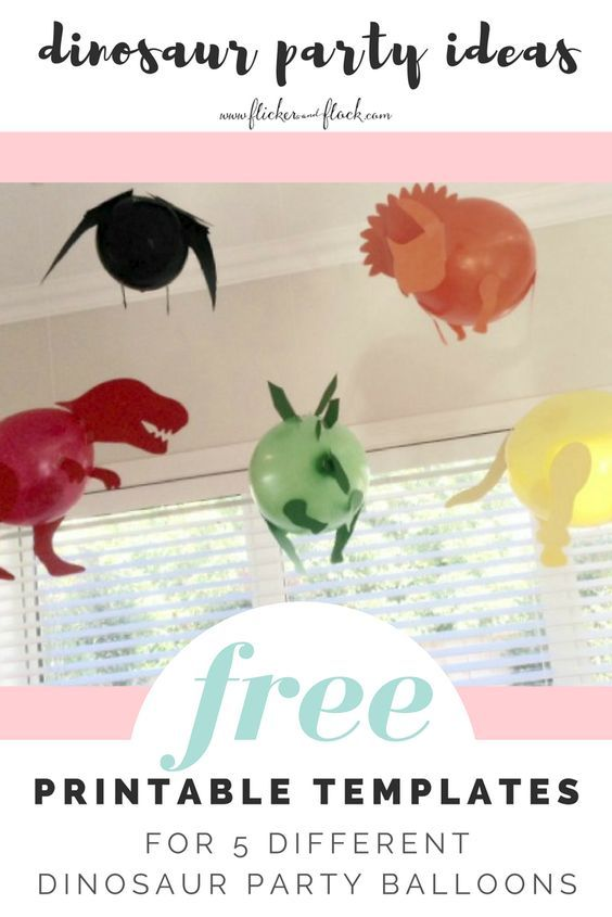 FREE printable templates to make 5 different dinosaur balloons - amazing decoration for a kids dino party!
