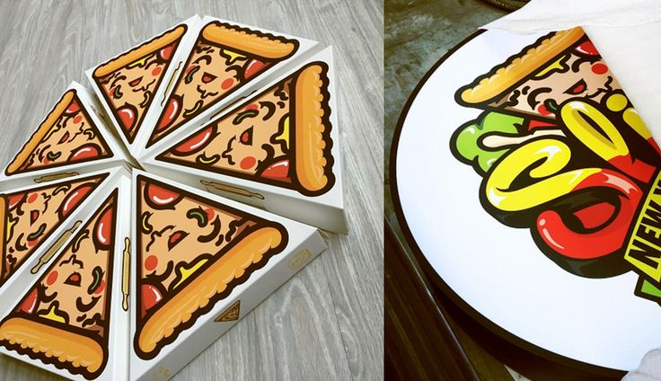 The branding for Slice Pizzeria in Korea is definitely an example of  something that's so cute you just can't help but eat it up. ChocoToy Cute  developed the branding and packaging for the pizza shop, creating an  adorable, smiling pizza mascot full to the brim with flavor.