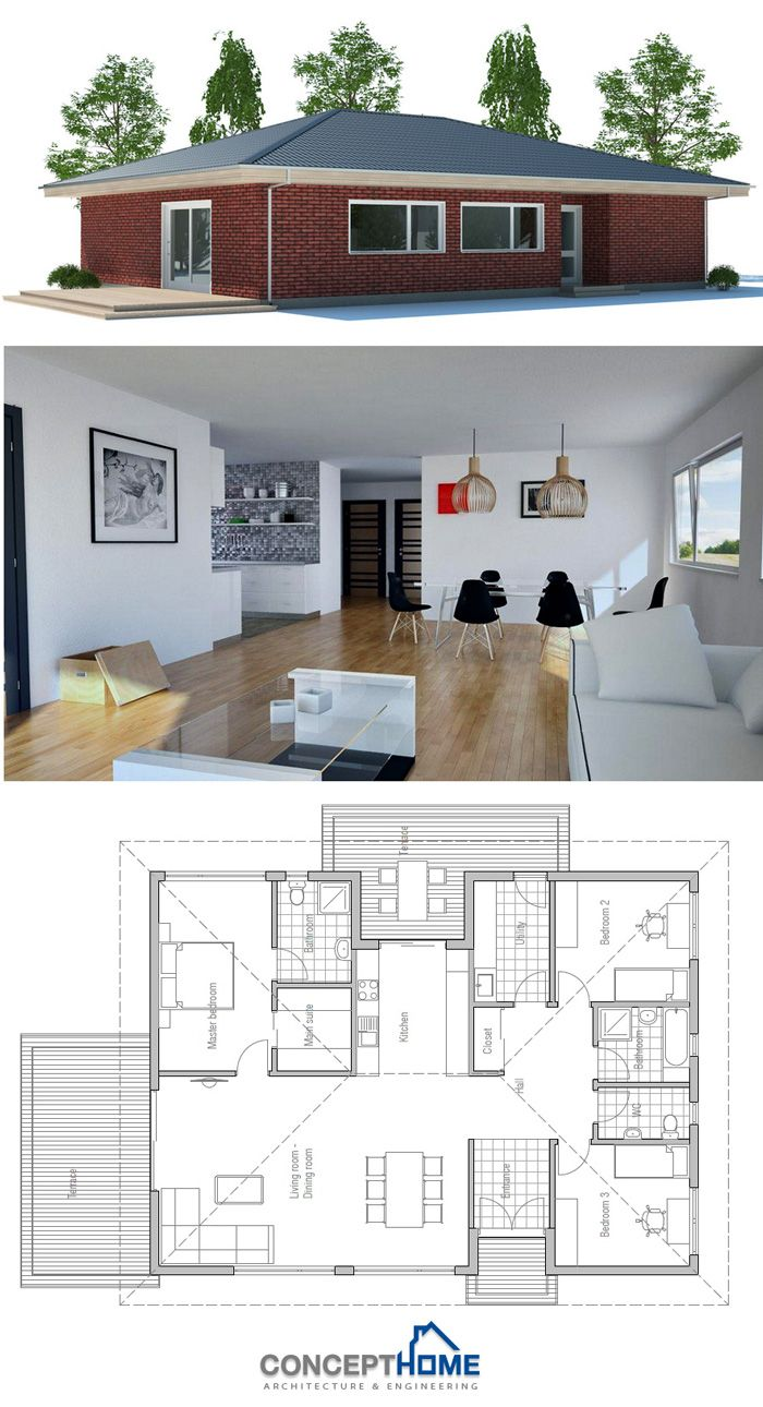 I like this floor plan, but I would not want it in brick.  Might make a good cob or straw bale home