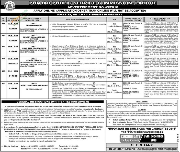 PPSC Jobs in Forestry Wildlife & Fisheries Department 18th November 2016