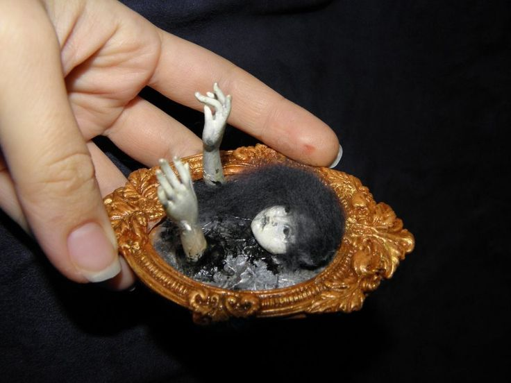 The GHOST in the mirror on  HALLOWEEN 1/12 OOAK Realistic Dollhouse Miniatures