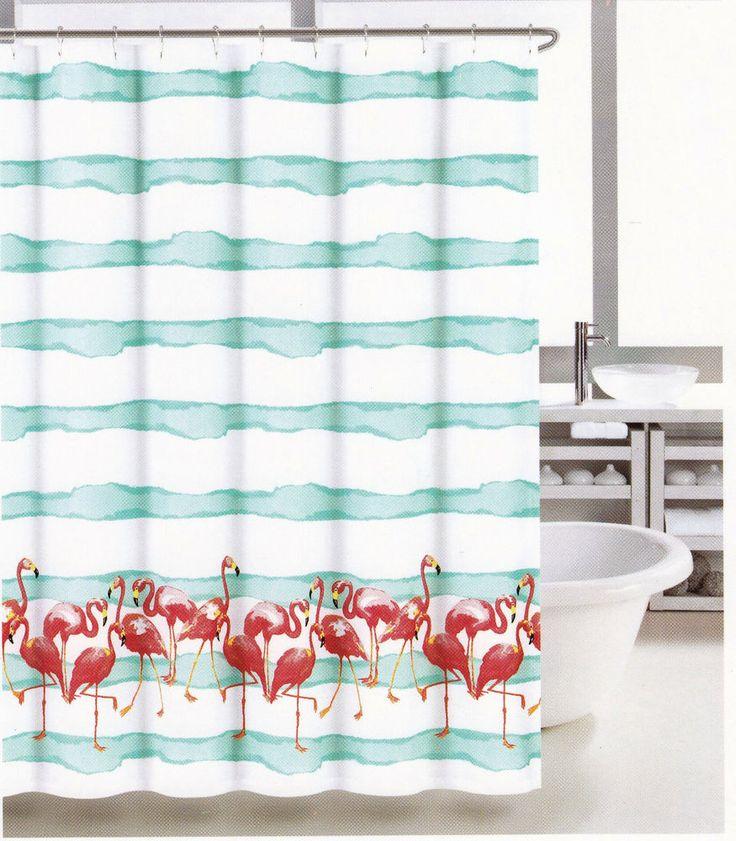 Coastal Collection Fabric Shower Curtain Frankie Flamingo Coral White Aqua    NEW