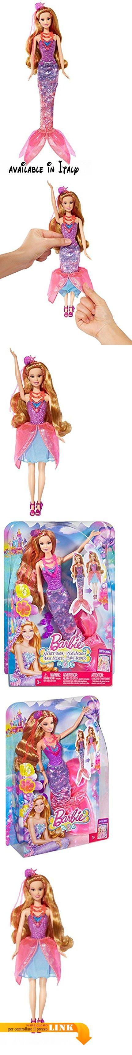 """Barbie CKN73 - Sirena Trasformazioni Magiche. Dal nuovo film """"Barbie e la porta segreta"""". Sirenetta magica dai folti capelli lunghi circa 18 cm. Tirando giù la gonna del look da party scoprirai la versione Sirenetta con le pinne. La magica Sirenetta indossa un'elegante collana e fermaglio per capelli abbinato che luccica in colori neon come l'intero outfit. Fatina magica e sirenetta insieme garantiscono un doppio divertimento #Giocattolo #TOYS_AND_GAMES"""