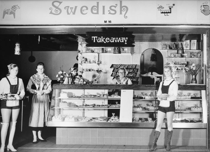 1971 - The first Miss Maud Swedish Pastry House was opened in City Arcade, Perth, Western Australia, in 1971 - hotpants was the uniform!  Still serving from this location today!