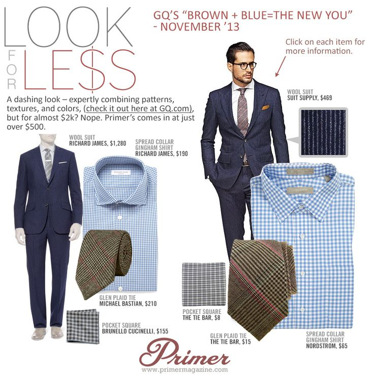 "Look For Less: GQ's ""Brown + Blue = The New You"" – November '13 - Primer"