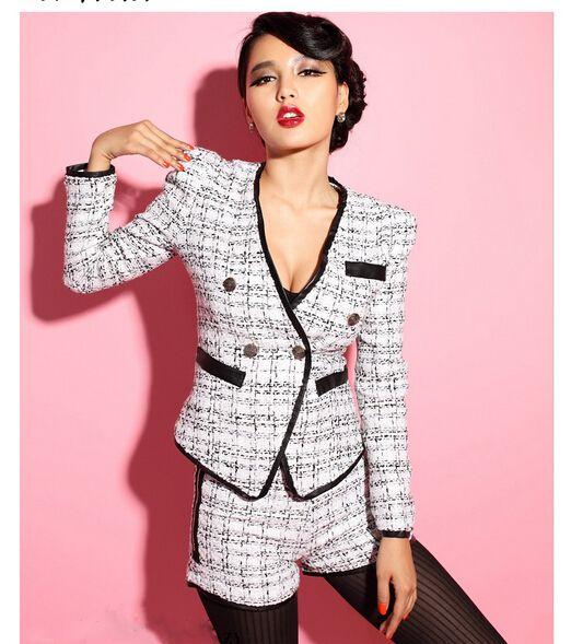 cheap elegante chaqueta de tweed y los fijados a cuadros vintage traje de chaqueta de