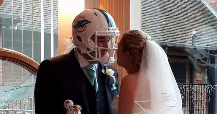 Die hard Miami fan displays romance by getting married wearing Dolphins helmet