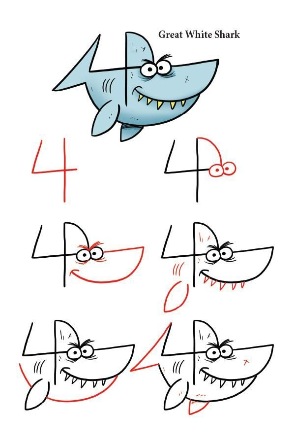 Take the number 4 and turn it into a shark by following the easy to draw steps