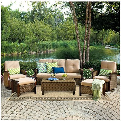 wilson fisher tuscany resin wicker 6 piece seating set on big lots furniture sets id=44098