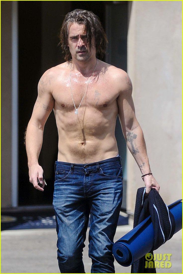 colin farrell shirtless sweaty yoga