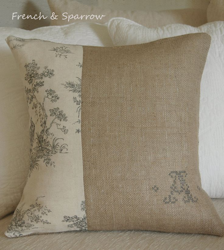 Burlap & Linen Toile Cushion Cover with hand embroidered monogram