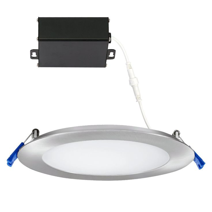 GetInLight 3 Color Dimmable Slim LED Recessed Lighting, 6 Inch, Junction Box Included, 3000K(Soft White), 4000K(Bright White), 5000K(Day Light), Brushed Nickel, ETL Listed, IN-0303-13-SN-30-40-50