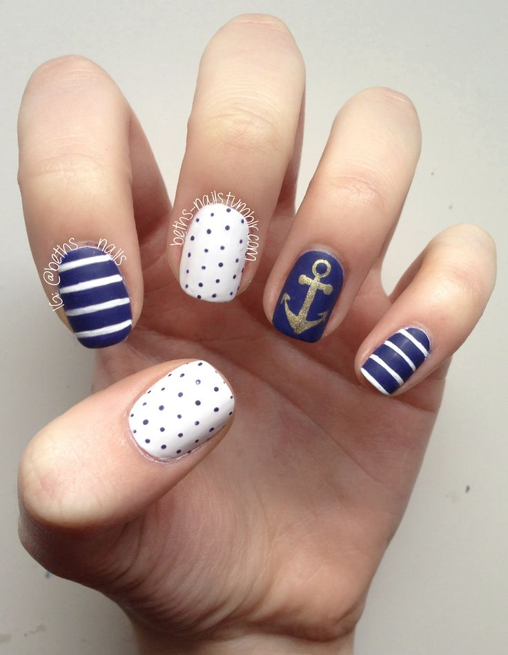 Nails for CB's shower next month :). Nautical Nails. Sailing Away for Summer.