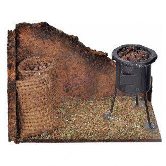 Scena fornace castagne e sacco 6x9,5x6 cm presepe napoletano | vendita online su HOLYART