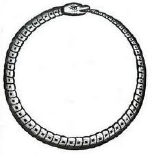 Ouroboros, 'tail swallower'. Greek symbol of eternity. The Ouroboros grew out of the belief that serpents eat themselves and are reborn from themselves in an endless cycle of destruction and creation.  Ancient Greeks considered snakes sacred to Asclepius, the god of medicine. He carried the caduceus:  symbol of modern physicians.