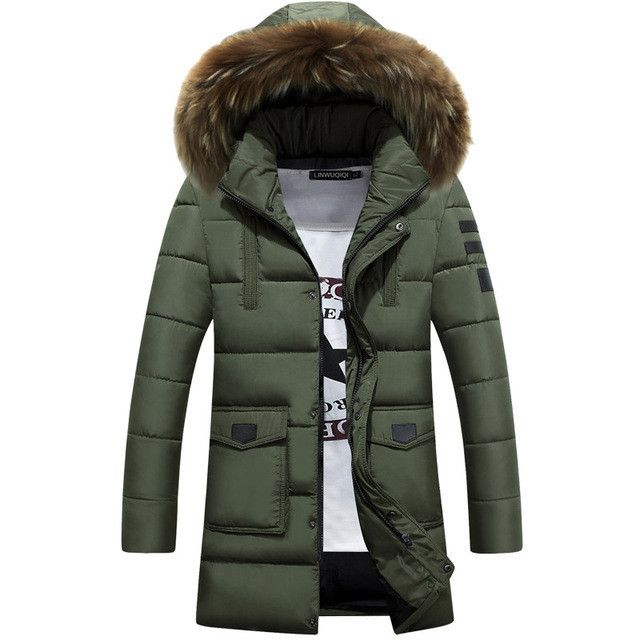 -25 Degree Temperature Winter Parka Men Cotton Padded Long Black Thick Warm With Raccoon Dog Fur Collar Casual Hooded Clothes