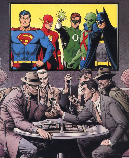Superman, Batman, Green Lantern, Martian Manhunter, and The Flash in their secret identities. Art by Brian Bolland