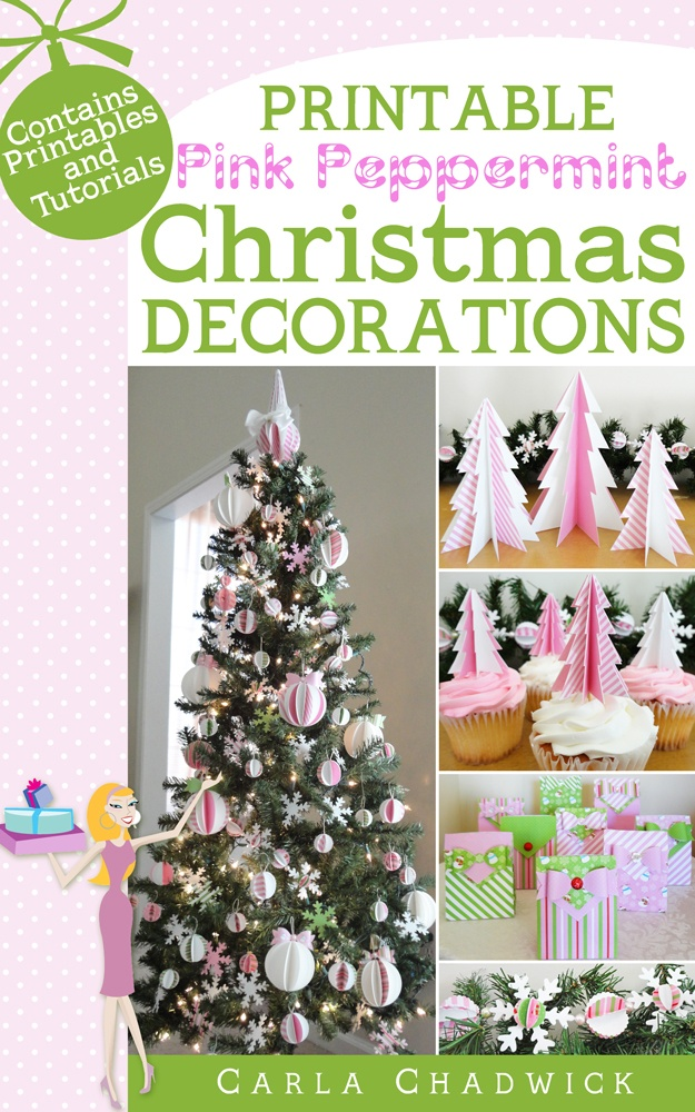 Printable pink peppermint Christmas decorations e-book
