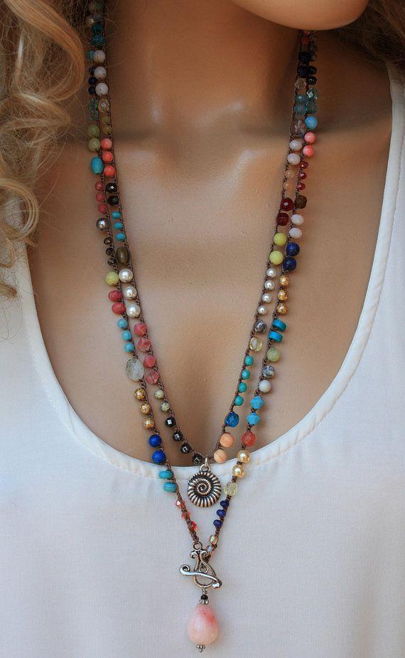 99f8a42b3f2 Colorful Gemstone Crochet Long Wrap Necklace ,Boho Chic Jewelry ...