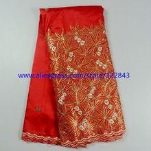 Livraison gratuite. Mode africaine george dentelle tissu brodé. Couleur rouge soie grège george dentelle avec paillettes haute qualité(China (Mainland))