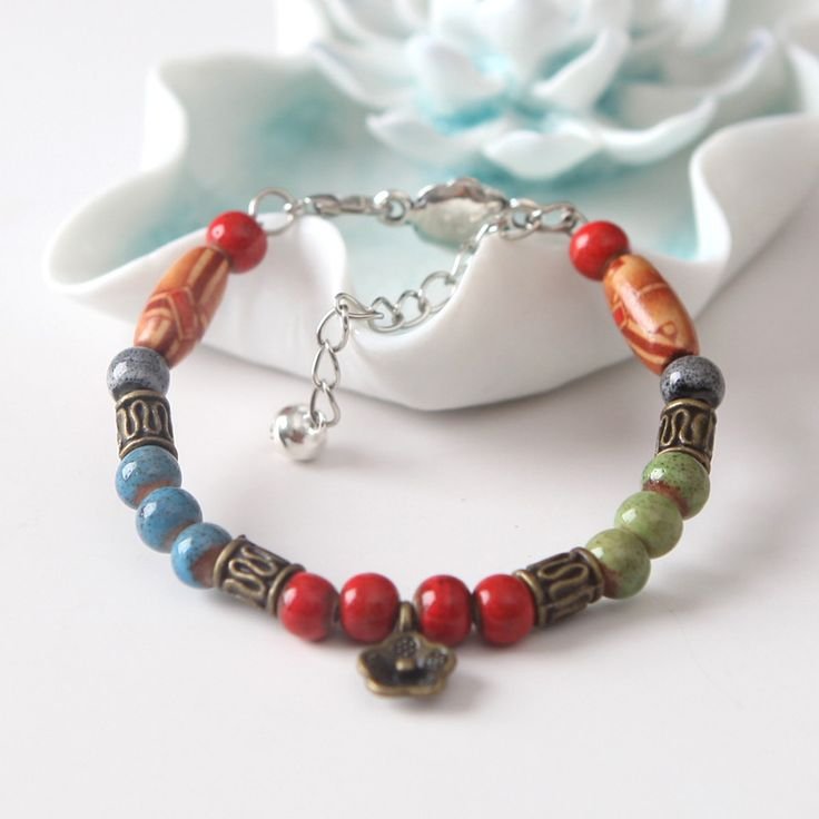 Ceramic Bracelet Women Multicolor Glazed Porcelain Beads Bangles Vintage Brass Silver Jewelry Pendant Pure Manual Girls Gift