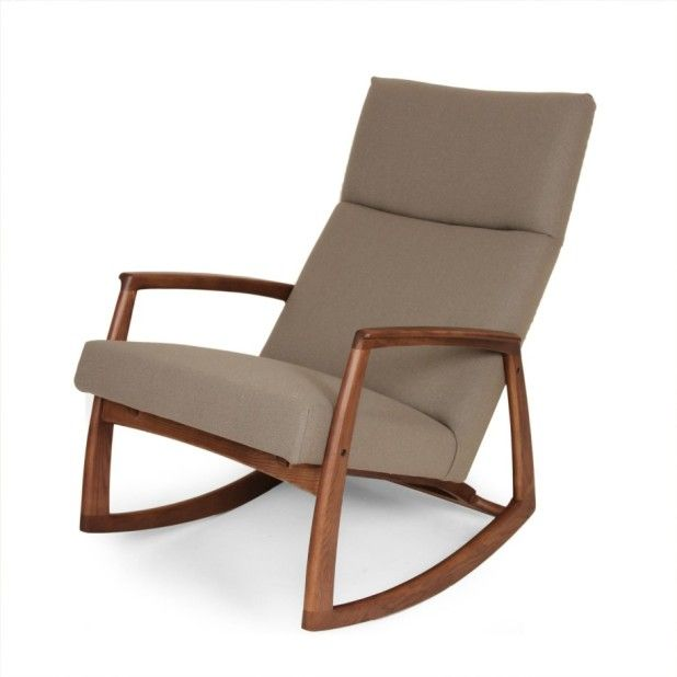 Comfortable Modern Wooden Rocking Chair With Gray Fabric . Photo