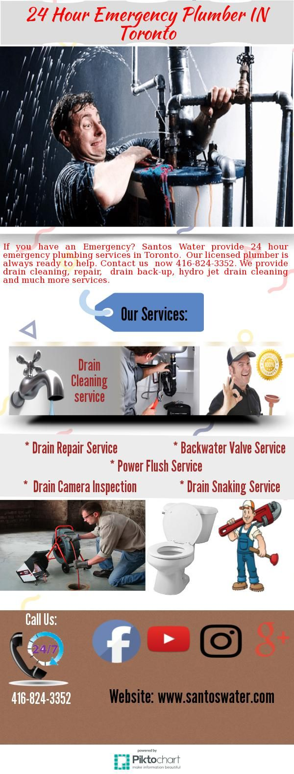 If you have an Emergency of plumbing service? Santos Water provide 24 hour emergency  plumbing services in Toronto.  Our licensed plumber is always ready to help. Contact us  now 416-824-3352.