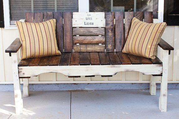 The Shabby Farmhouse Wood Bench is rustic and beautiful with light and dark tones of natural reclaimed wood. The perfect addition to your front
