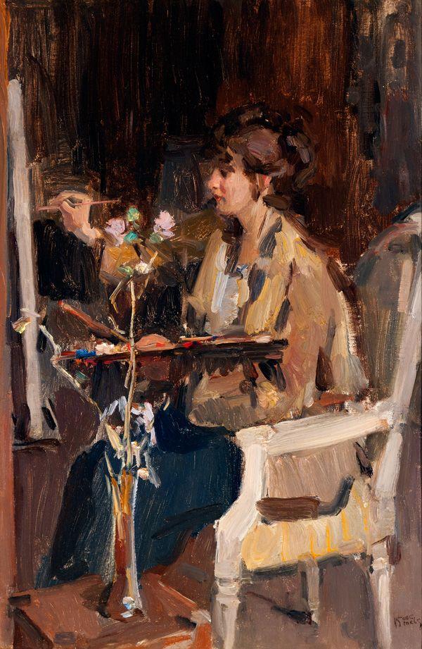 Isaac Israels (1865-1934) Kunstenares in atelier, 1918. (en te koop voor € 70.000/90.000,-)