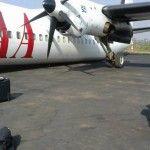 RDC- Aéroport de Goma: un avion Fokker 50 de la compagnie CAA endommagé au sol lors d'un controle technique quelques minutes avant son voyage sur Kisangani