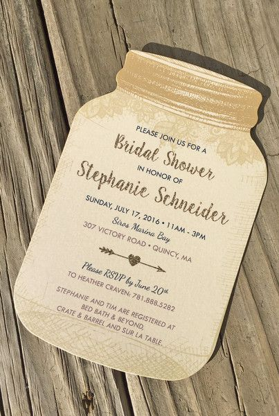 Rustic bridal shower invitation idea - gold, glitter and lace mason jar bridal shower invite {Happy Frog Invitations}