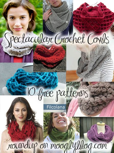 Crochet Cowls are THE gift to make this holiday! Get 10 hot free patterns at mooglyblog.com