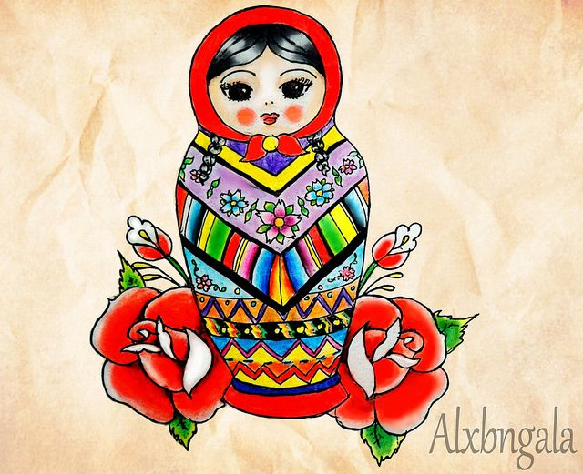 MEXICAN MATRYOSHKA 2 by:Alejandra L Manriquez. #tattoo #russiandoll #nestingdoll