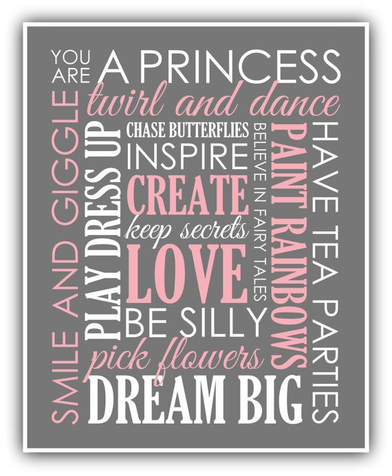 Baby Girl Art Girl Nursery Print Playroom Print by ThePrintsCess, $12.99