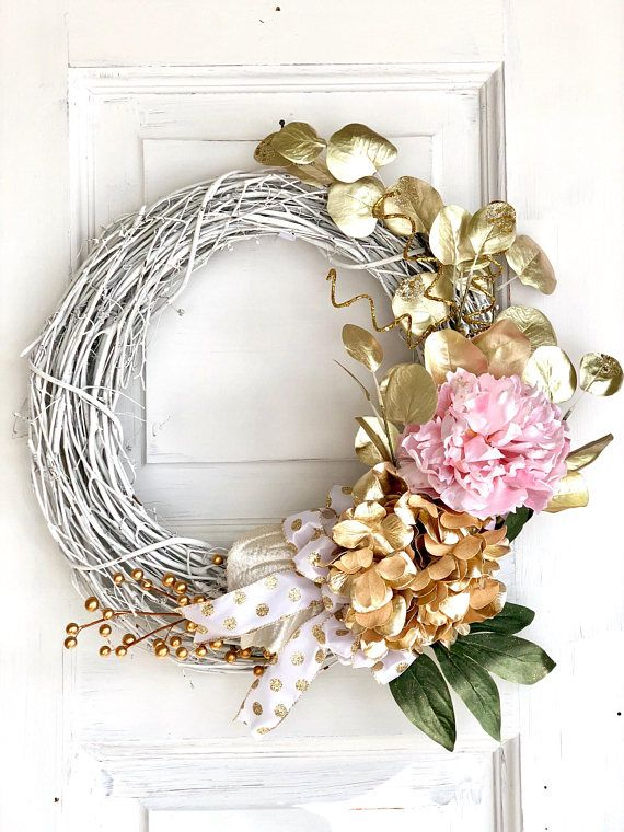 This Pink And Gold Summer Front Door Wreath With Peonies And Hydrangeas Will Turn Your Entryway From B Hydrangea Wreath Spring Grapevine Wreath Everyday Wreath
