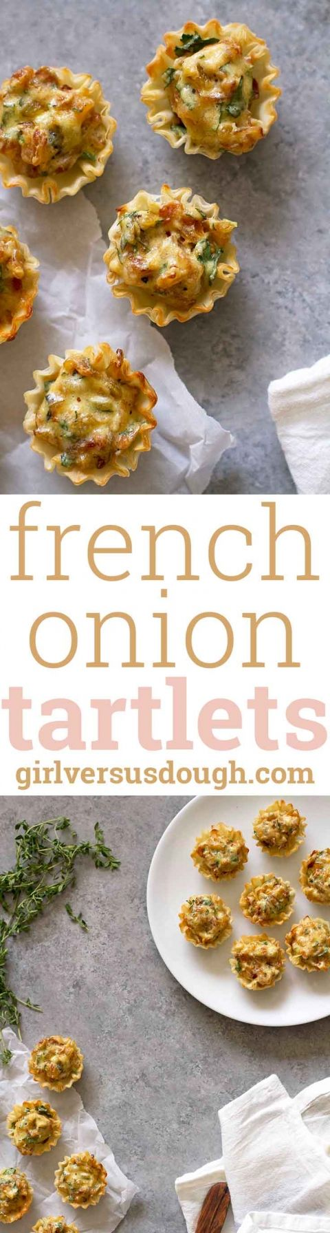 French Onion Tartlets -- crispy, buttery, flaky phyllo shells filled with a creamy caramelized onion filling. The best new Thanksgiving or holiday party appetizer! girlversusdough.com @girlversusdough