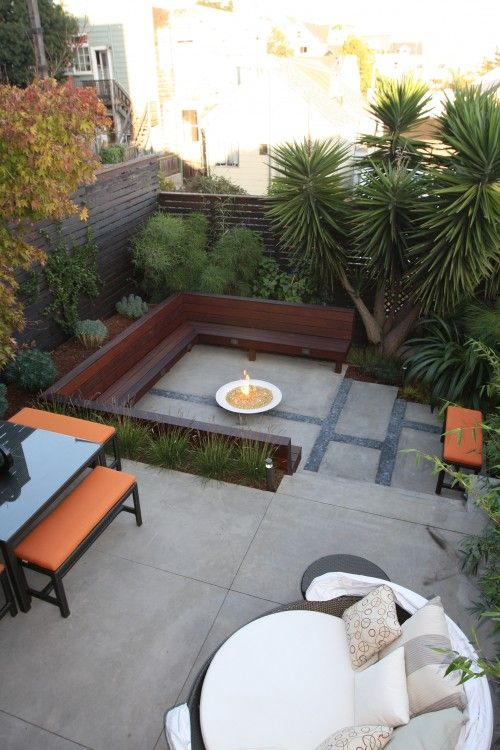 """Love the giant round outdoor """"bed"""" to lounge on!  And of course, must have a fire pit with ample seating...  I like the multiple tiers/levels...very dynamic! Just needs the pool and garden."""