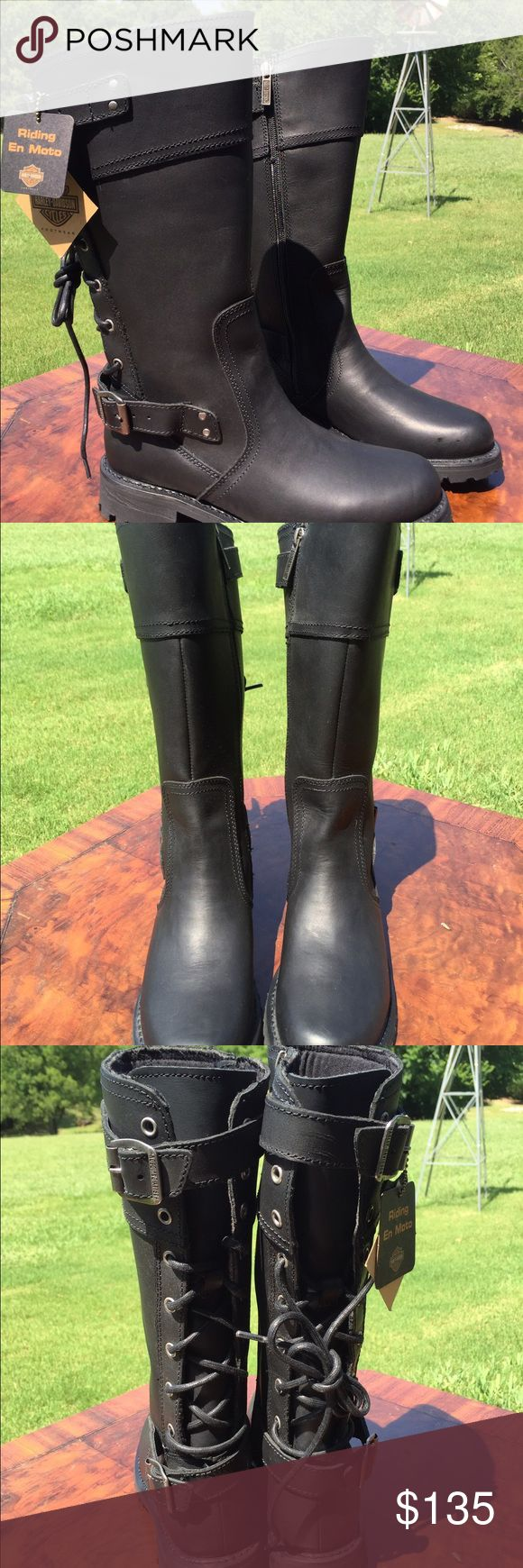 NWT! Lady Harley Davidson Motorcycle Boots Very sweet Harley riding boots for women. Size 9.5. Zipper, lace up back and buckles. Never worn. Excellent condition. Harley-Davidson Shoes Combat & Moto Boots