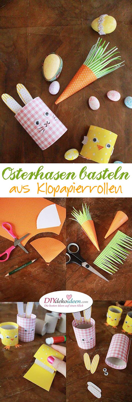 DIY Ideen mit Klopapierrollen, Osterhasen basteln, basteln mit Kleinkindern, Ostern, Ostern basteln, Bastelidee Ostern, DIY Bastelideen, Osterhase, Klopapierrollen