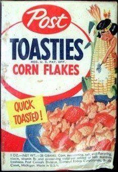 1950's Post Toasties Single Serve Cereal Box