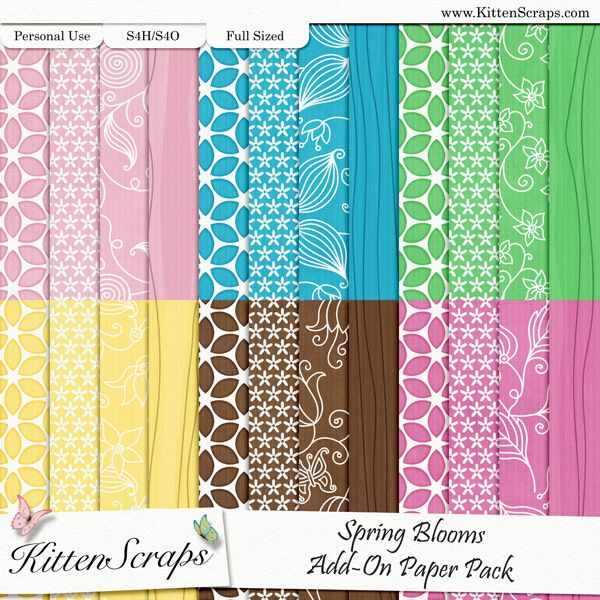 Spring Blooms Add-On Paper Pack  created by KittenScraps, Digital Scrapbooking