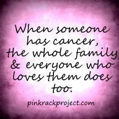 "I hate it when people tell me...""Your Dad has Cancer not you"" or ""Your dad is the sick one not you"" I may not have the disease but it sure the he'll effects me."