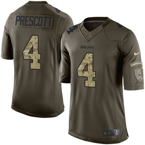 Nike Dallas Cowboys Men's #4 Dak Prescott Limited Green Salute to Service NFL Jersey