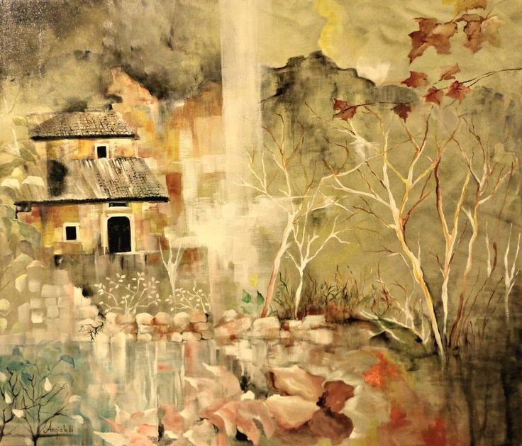 FineArtSeen - The Lake House by Anna Angiolelli. This original surreal style landscape painting comes from the collection on FineArtSeen. Click to view more art at great prices from the Home Of Original Art. << Pin For Later >>